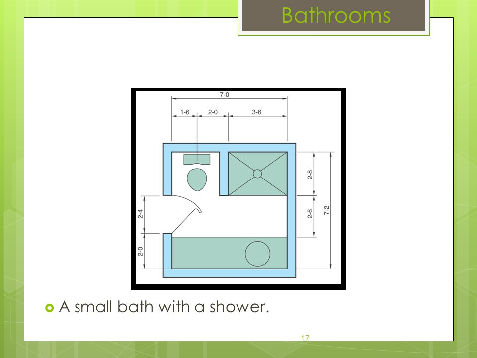  A small bath with a shower. 17 Bathrooms