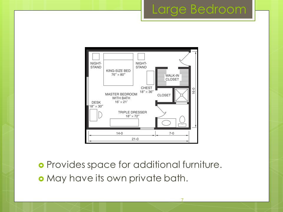  Provides space for additional furniture.  May have its own private bath. 7 Large Bedroom