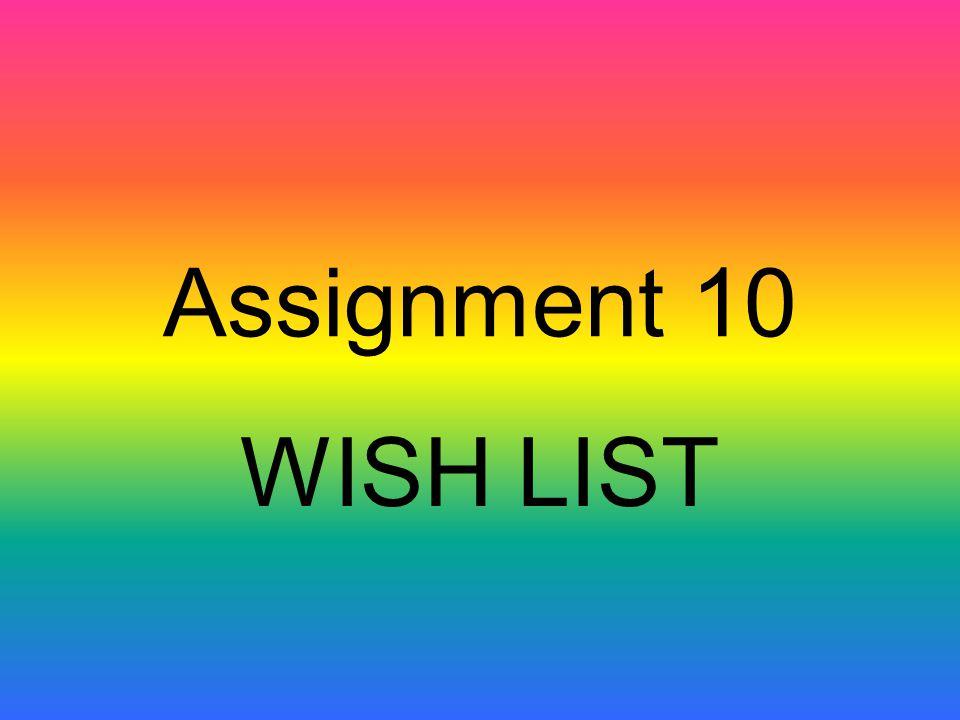 Assignment 10 WISH LIST