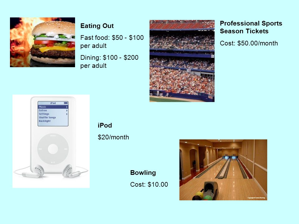 Eating Out Fast food: $50 - $100 per adult Dining: $100 - $200 per adult iPod $20/month Professional Sports Season Tickets Cost: $50.00/month Bowling Cost: $10.00