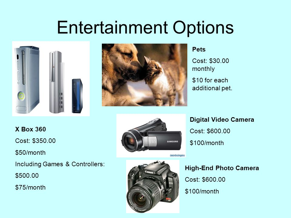 Entertainment Options X Box 360 Cost: $350.00 $50/month Including Games & Controllers: $500.00 $75/month Pets Cost: $30.00 monthly $10 for each additional pet.