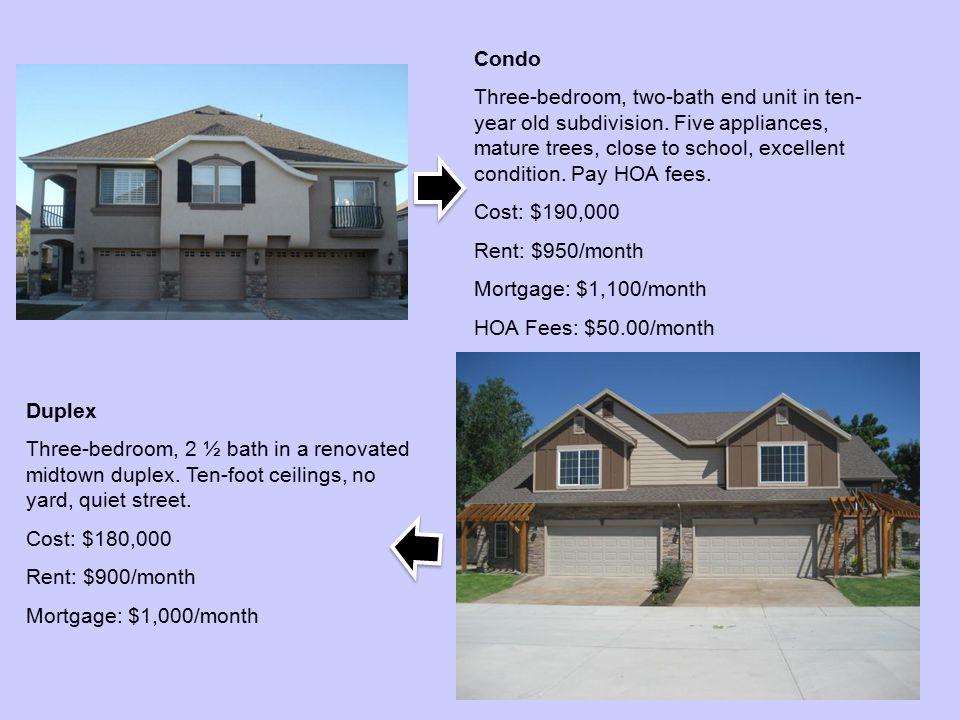 Condo Three-bedroom, two-bath end unit in ten- year old subdivision.