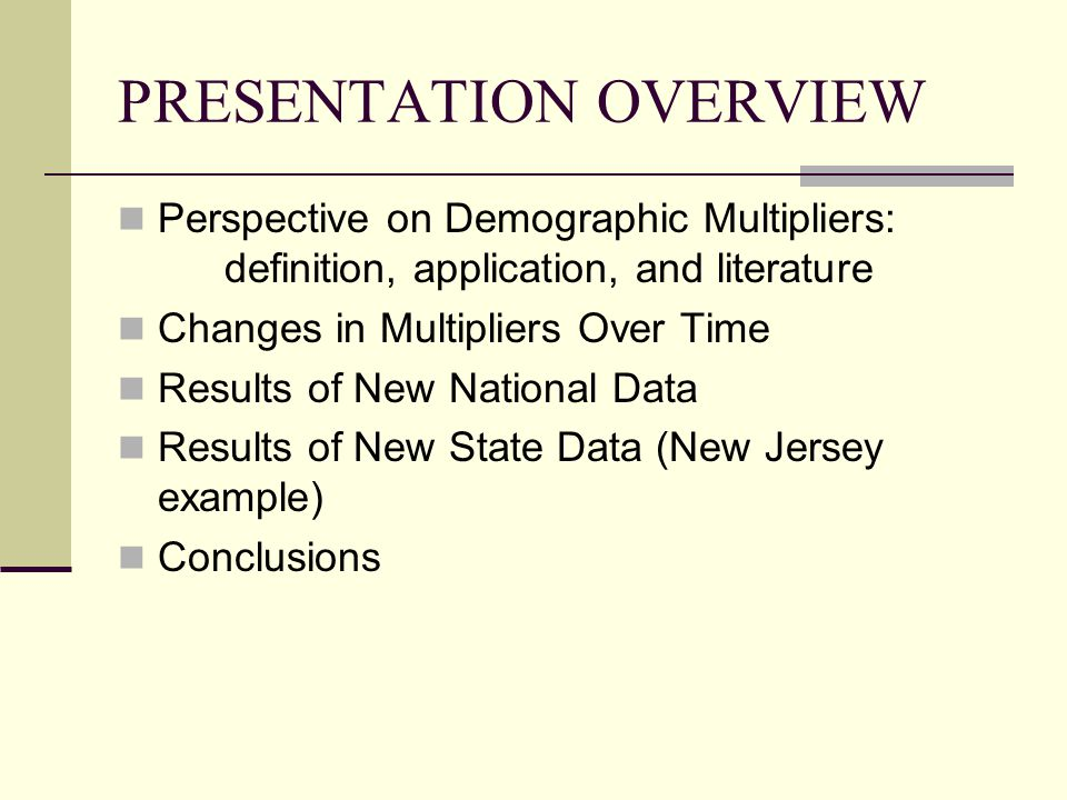 NJ OFFICE OF SMART OF GROWTH (OSG) – RUTGERS DEMOGRAPHIC MULTIPLIERS STUDY Author: Center for Urban Policy Research, Rutgers University Data: 2000 PUMS, NJ Housing Constructed 1990-2000, Field studies and other Geography: NJ, All State and 3 regions Multiplier fields: HS, SAC and PSAC by housing type, size, value, tenure, and state region Statistics: Regression analysis of characteristics associated with variation in multipliers Multipliers presented with sample size, standard error, and confidence interval Other: affordable housing, transit oriented development (TOD), and nonresidential multipliers