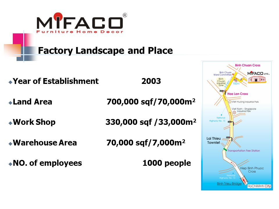  Year of Establishment 2003  Land Area 700,000 sqf/70,000m 2  Work Shop 330,000 sqf /33,000m 2  Warehouse Area 70,000 sqf/7,000m 2  NO.
