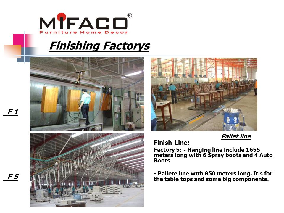 Finishing Factorys F 1 F 5 Finish Line: Factory 5: - Hanging line include 1655 meters long with 6 Spray boots and 4 Auto Boots - Pallete line with 850 meters long.