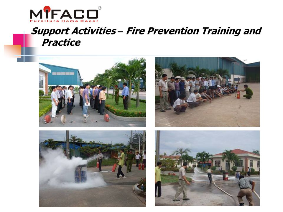 Support Activities – Fire Prevention Training and Practice
