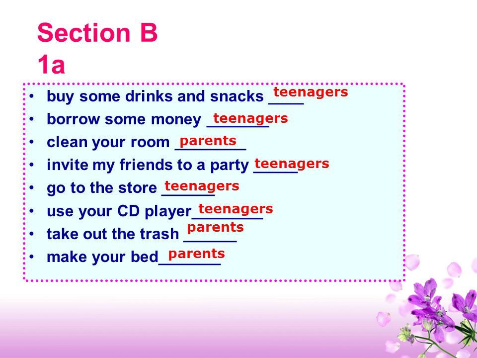 Section B 1a buy some drinks and snacks ____ borrow some money _______ clean your room ________ invite my friends to a party _____ go to the store ______ use your CD player________ take out the trash ______ make your bed_______ teenagers parents teenagers parents