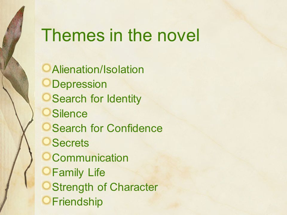 Themes in the novel Alienation/Isolation Depression Search for Identity Silence Search for Confidence Secrets Communication Family Life Strength of Ch
