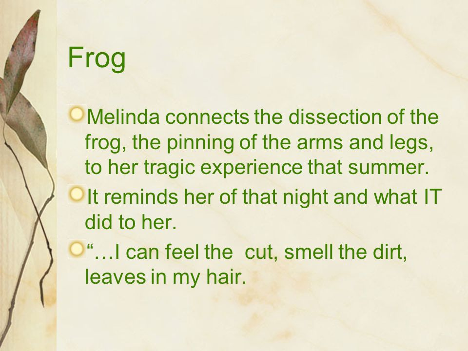 Frog Melinda connects the dissection of the frog, the pinning of the arms and legs, to her tragic experience that summer. It reminds her of that night