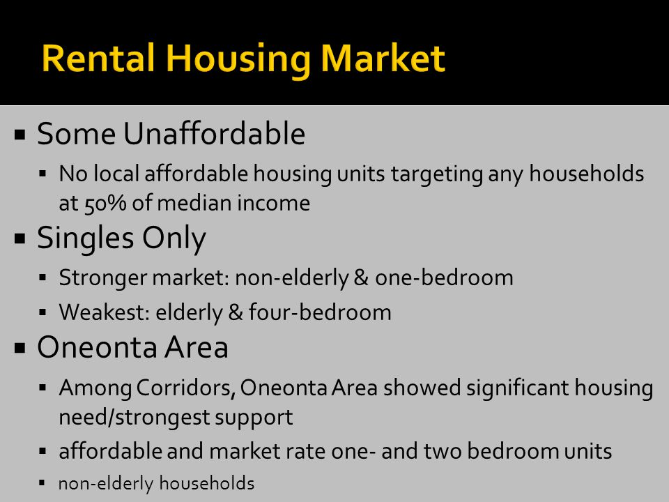  Some Unaffordable  No local affordable housing units targeting any households at 50% of median income  Singles Only  Stronger market: non-elderly & one-bedroom  Weakest: elderly & four-bedroom  Oneonta Area  Among Corridors, Oneonta Area showed significant housing need/strongest support  affordable and market rate one- and two bedroom units  non-elderly households