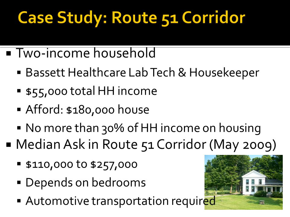  Two-income household  Bassett Healthcare Lab Tech & Housekeeper  $55,000 total HH income  Afford: $180,000 house  No more than 30% of HH income on housing  Median Ask in Route 51 Corridor (May 2009)  $110,000 to $257,000  Depends on bedrooms  Automotive transportation required