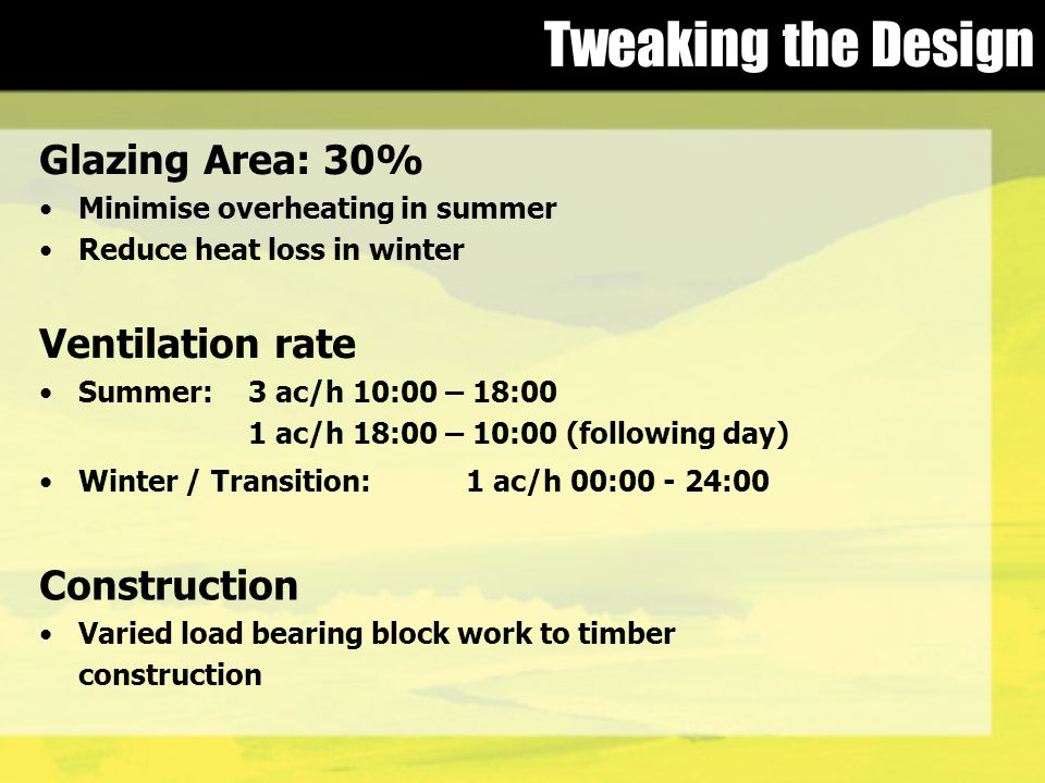Tweaking the Design Glazing Area: 30% Minimise overheating in summer Reduce heat loss in winter Ventilation rate Summer:3 ac/h 10:00 – 18:00 1 ac/h18:00 – 10:00 (following day) Winter / Transition: 1 ac/h 00:00 - 24:00 Construction Varied load bearing block work to timber construction