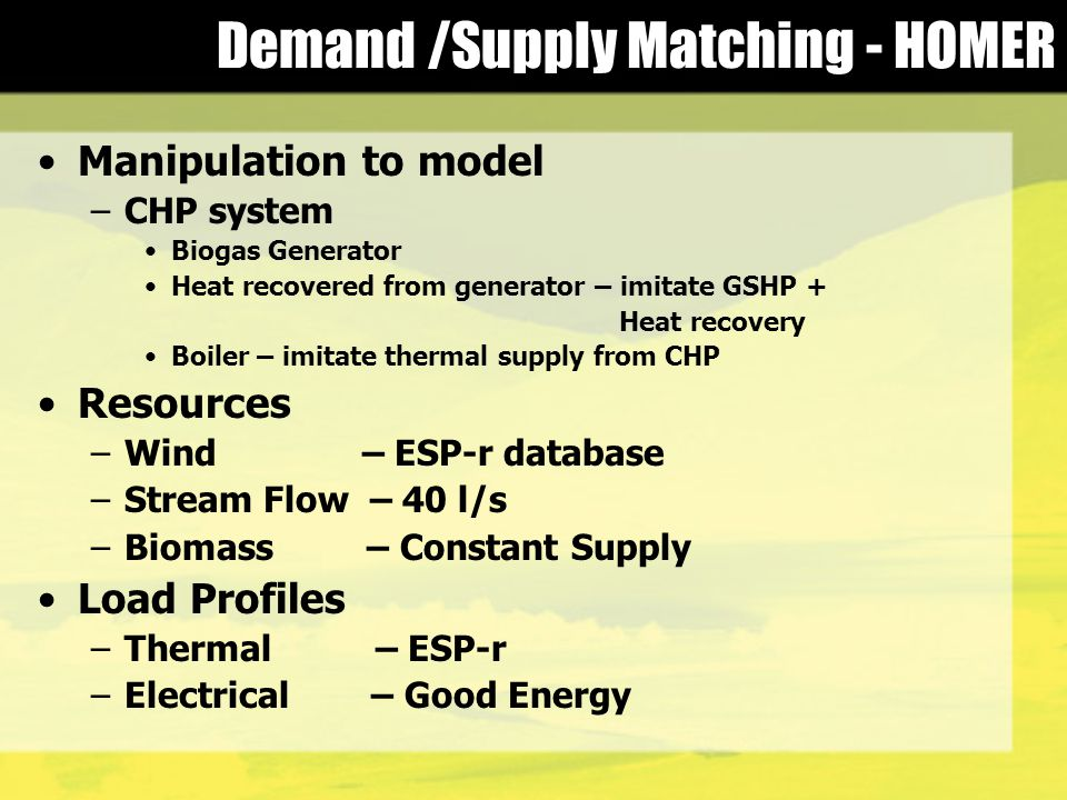 Demand /Supply Matching - HOMER Manipulation to model –CHP system Biogas Generator Heat recovered from generator – imitate GSHP + Heat recovery Boiler – imitate thermal supply from CHP Resources –Wind – ESP-r database –Stream Flow – 40 l/s –Biomass – Constant Supply Load Profiles –Thermal – ESP-r –Electrical – Good Energy