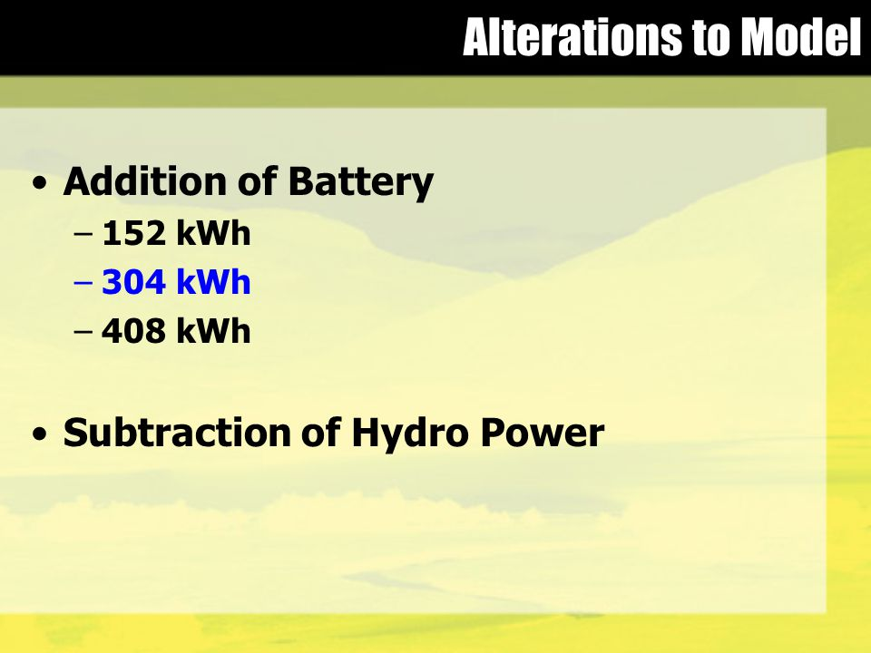 Alterations to Model Addition of Battery –152 kWh –304 kWh –408 kWh Subtraction of Hydro Power