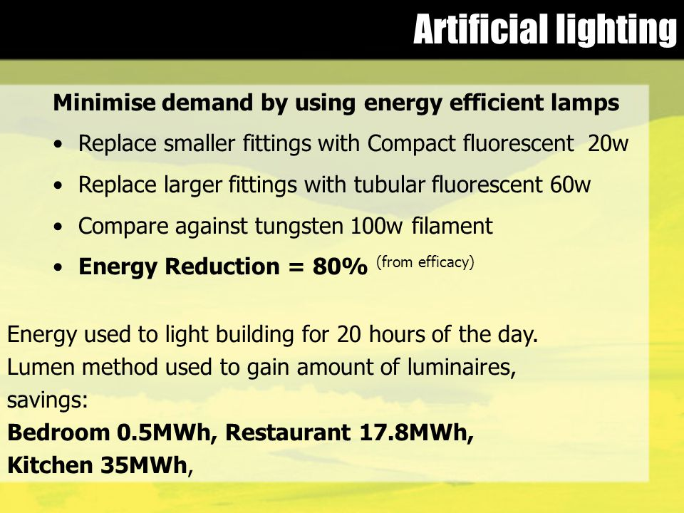 Artificial lighting Energy used to light building for 20 hours of the day.