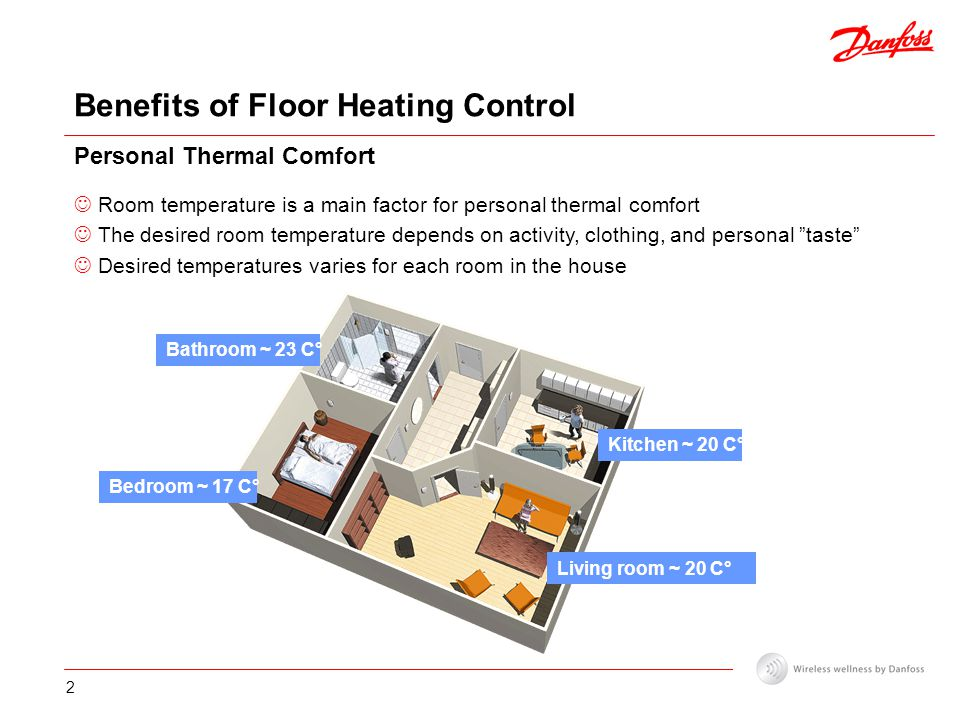 2 Benefits of Floor Heating Control Personal Thermal Comfort Room temperature is a main factor for personal thermal comfort The desired room temperature depends on activity, clothing, and personal taste Desired temperatures varies for each room in the house Kitchen ~ 20 C° Bedroom ~ 17 C° Bathroom ~ 23 C° Living room ~ 20 C°