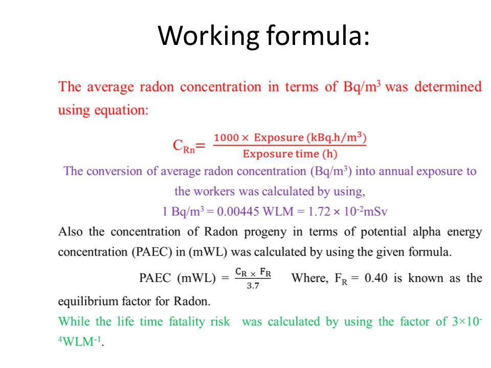 Working formula: