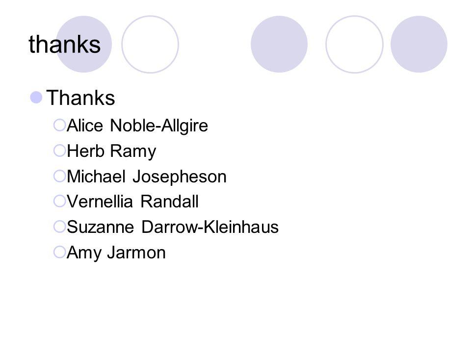 thanks Thanks  Alice Noble-Allgire  Herb Ramy  Michael Josepheson  Vernellia Randall  Suzanne Darrow-Kleinhaus  Amy Jarmon