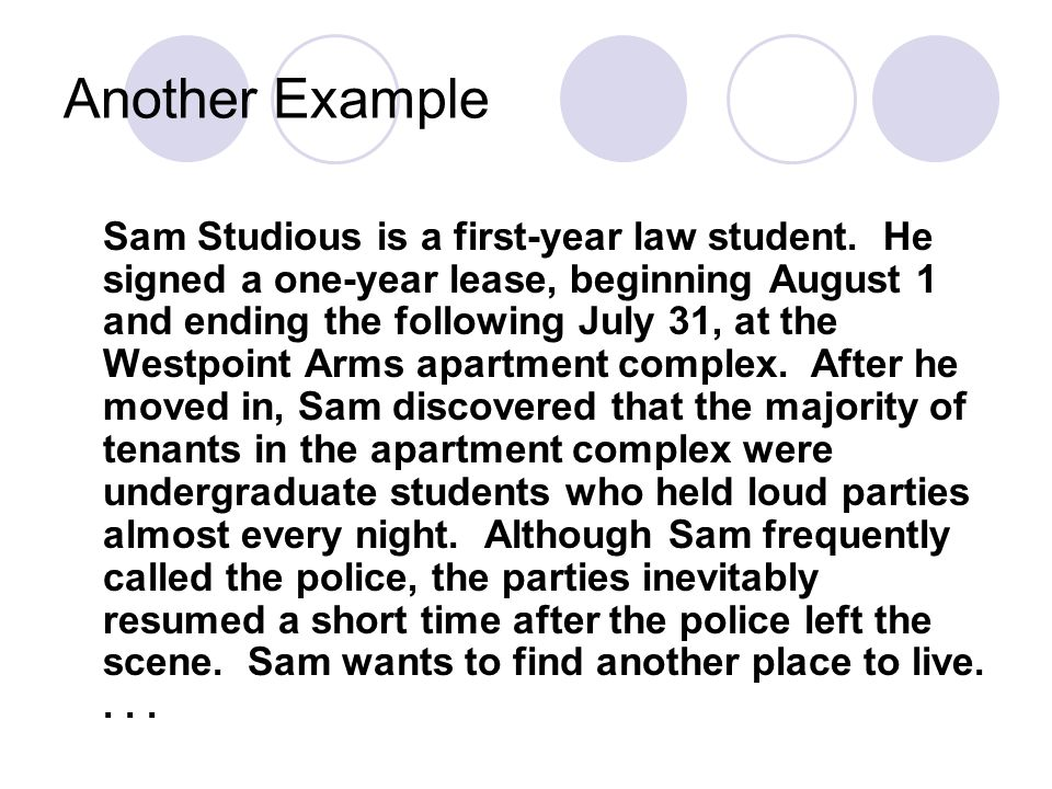 Another Example Sam Studious is a first-year law student.
