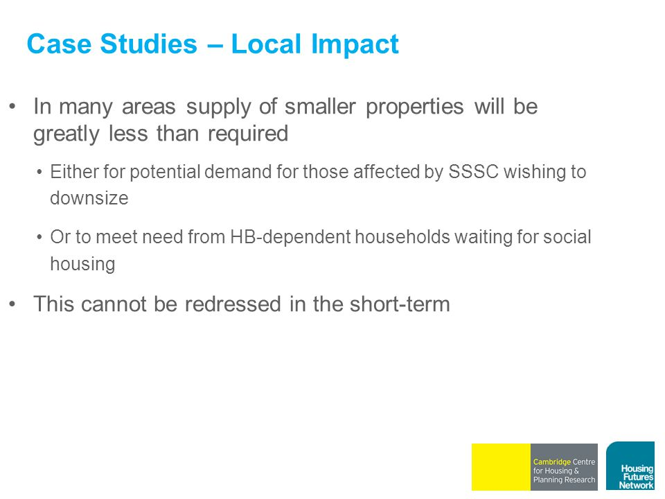 Case Studies – Local Impact In many areas supply of smaller properties will be greatly less than required Either for potential demand for those affect