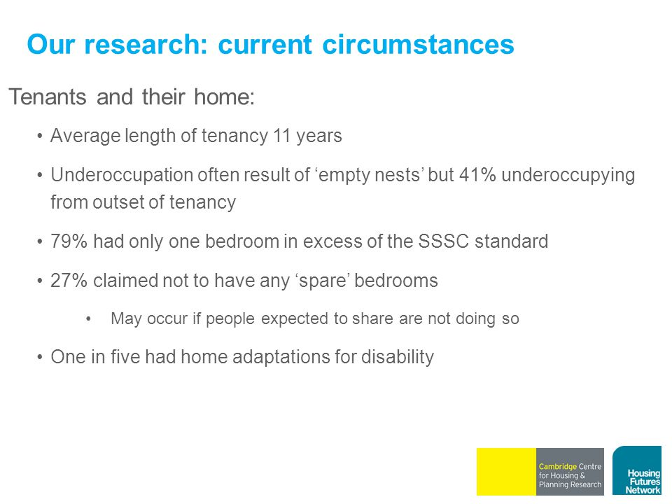 Our research: current circumstances Tenants and their home: Average length of tenancy 11 years Underoccupation often result of 'empty nests' but 41% u