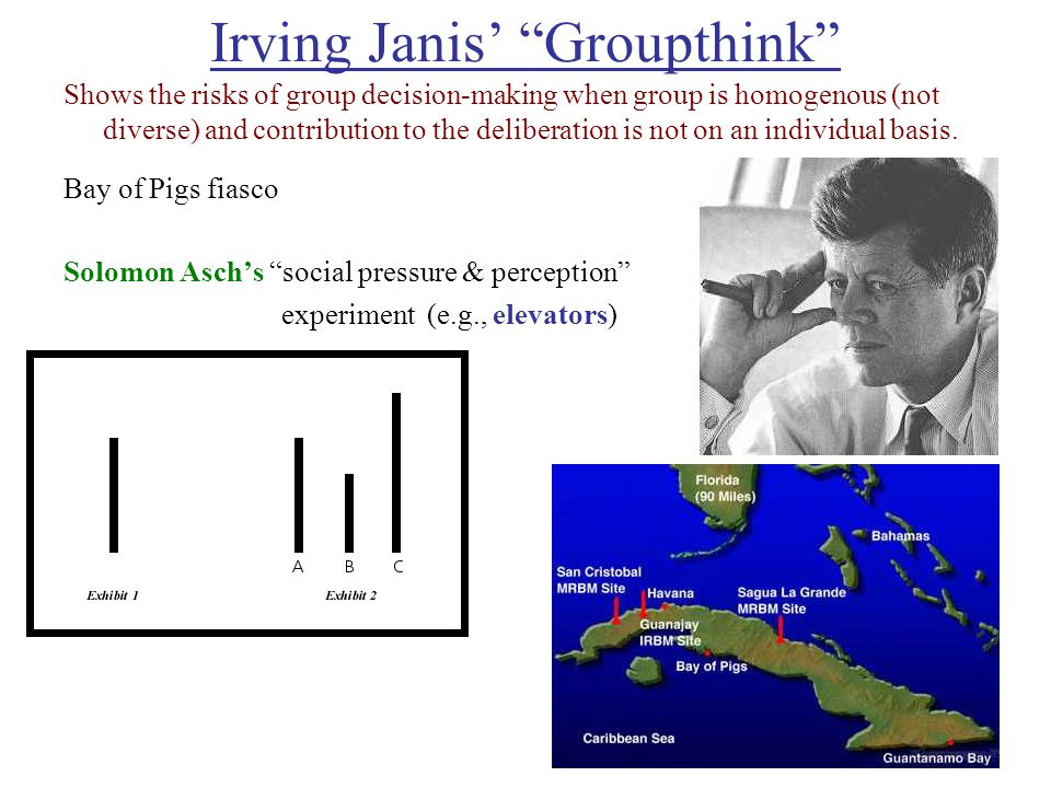 Irving Janis' Groupthink Shows the risks of group decision-making when group is homogenous (not diverse) and contribution to the deliberation is not on an individual basis.