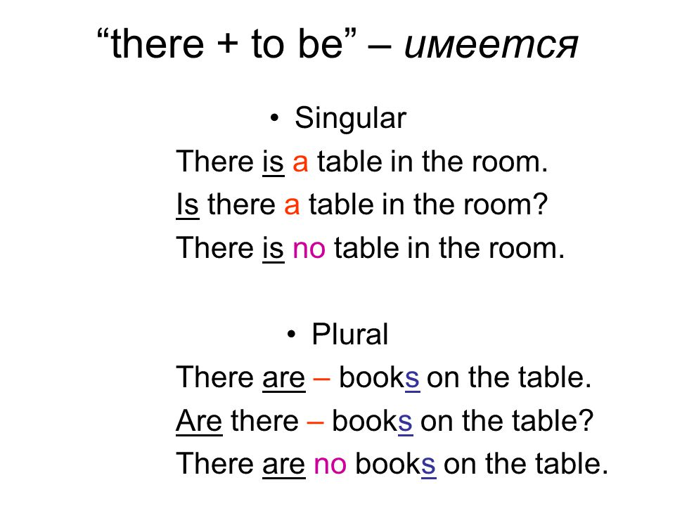 there + to be – имеется Singular There is a table in the room.