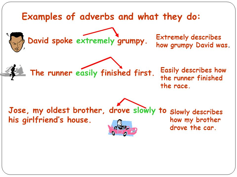 Examples of adverbs and what they do: David spoke extremely grumpy.