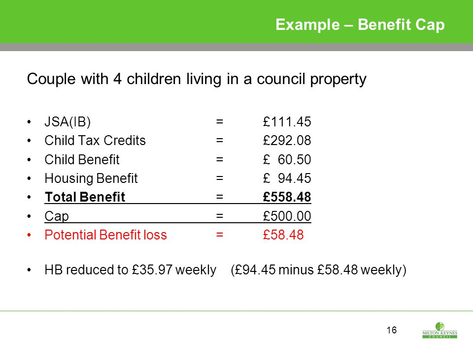 16 Example – Benefit Cap Couple with 4 children living in a council property JSA(IB) = £111.45 Child Tax Credits= £292.08 Child Benefit =£ 60.50 Housing Benefit=£ 94.45 Total Benefit= £558.48 Cap = £500.00 Potential Benefit loss = £58.48 HB reduced to £35.97 weekly (£94.45 minus £58.48 weekly)