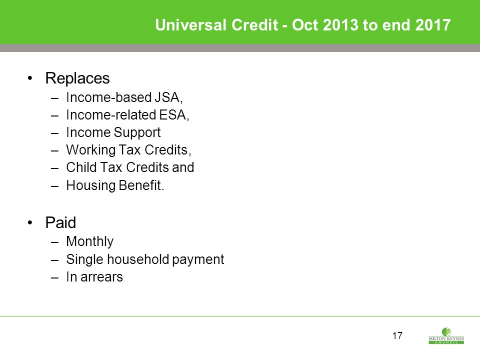 17 Universal Credit - Oct 2013 to end 2017 Replaces –Income-based JSA, –Income-related ESA, –Income Support –Working Tax Credits, –Child Tax Credits and –Housing Benefit.