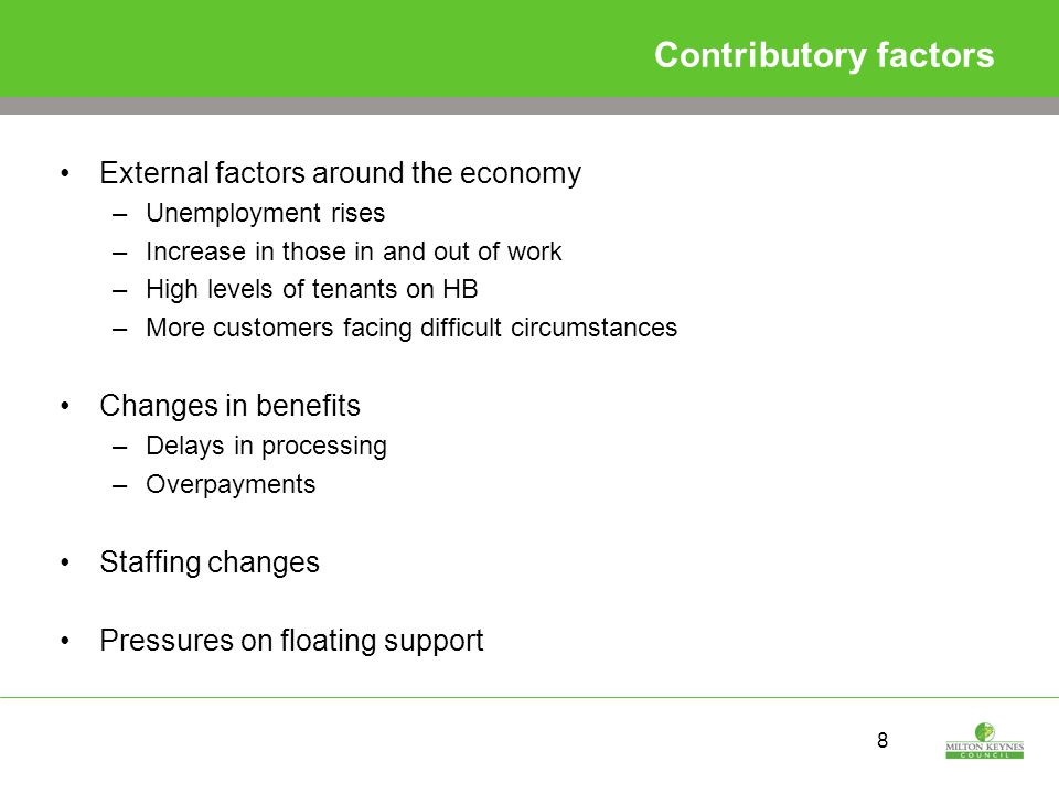 8 Contributory factors External factors around the economy –Unemployment rises –Increase in those in and out of work –High levels of tenants on HB –More customers facing difficult circumstances Changes in benefits –Delays in processing –Overpayments Staffing changes Pressures on floating support