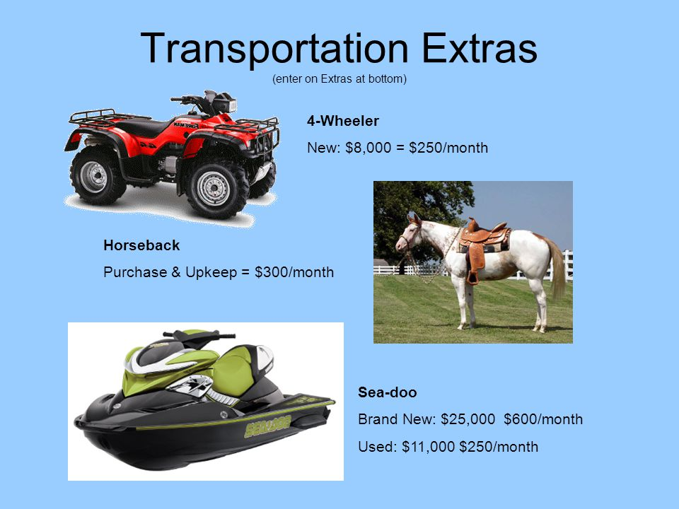 Transportation Extras (enter on Extras at bottom) Horseback Purchase & Upkeep = $300/month 4-Wheeler New: $8,000 = $250/month Sea-doo Brand New: $25,000 $600/month Used: $11,000 $250/month