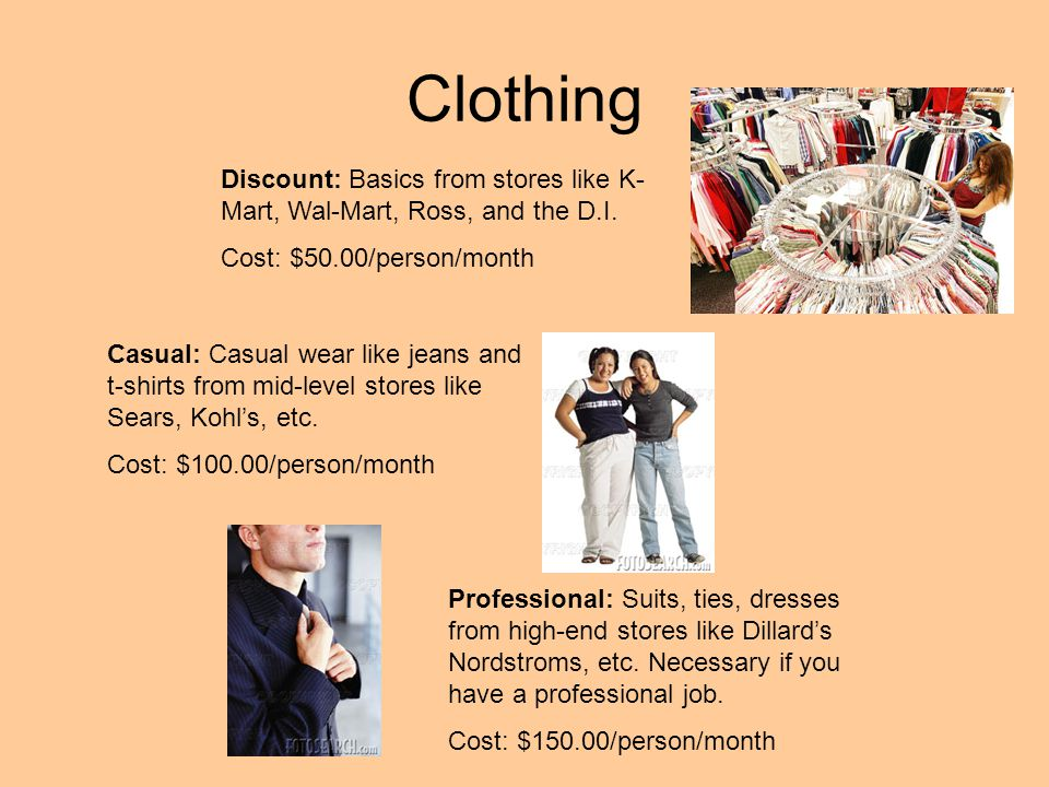 Clothing Discount: Basics from stores like K- Mart, Wal-Mart, Ross, and the D.I. Cost: $50.00/person/month Casual: Casual wear like jeans and t-shirts