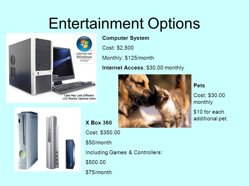 Entertainment Options Computer System Cost: $2,500 Monthly: $125/month Internet Access: $30.00 monthly X Box 360 Cost: $350.00 $50/month Including Games & Controllers: $500.00 $75/month Pets Cost: $30.00 monthly $10 for each additional pet.