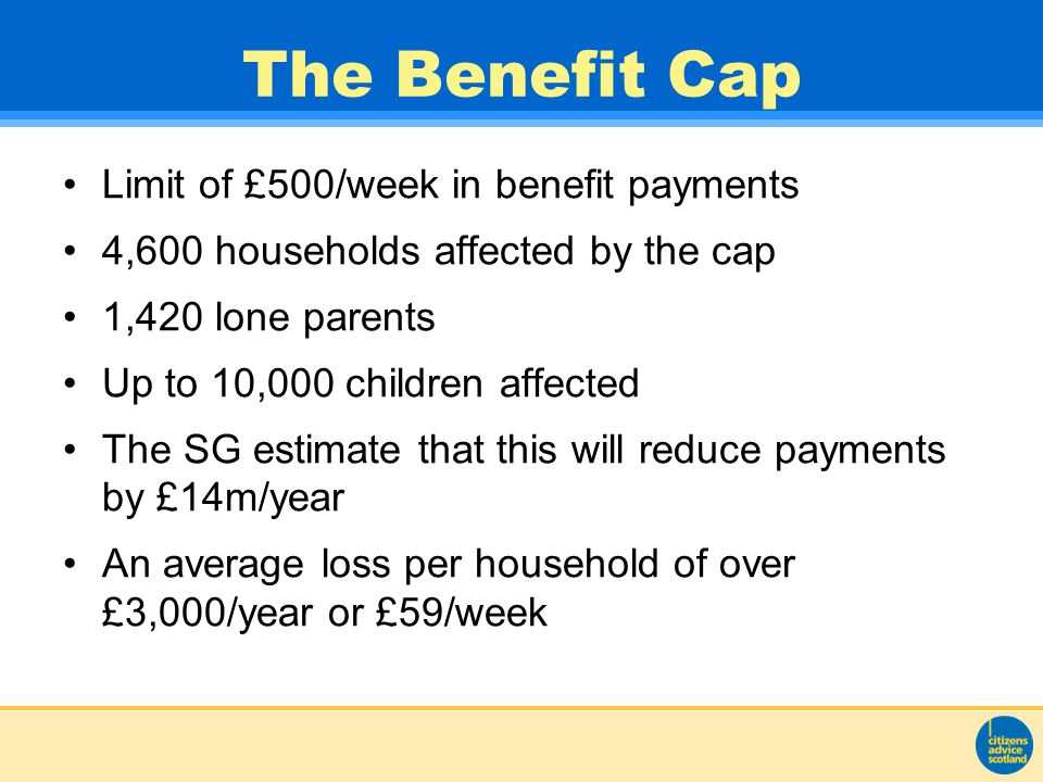 The Benefit Cap Limit of £500/week in benefit payments 4,600 households affected by the cap 1,420 lone parents Up to 10,000 children affected The SG estimate that this will reduce payments by £14m/year An average loss per household of over £3,000/year or £59/week