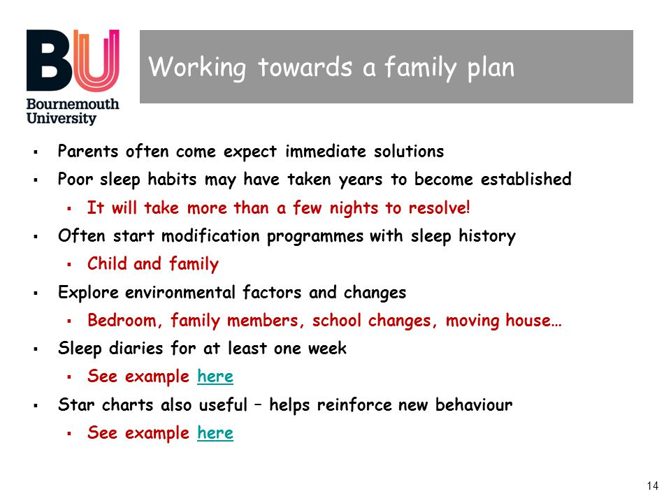 14 Working towards a family plan  Parents often come expect immediate solutions  Poor sleep habits may have taken years to become established  It will take more than a few nights to resolve.