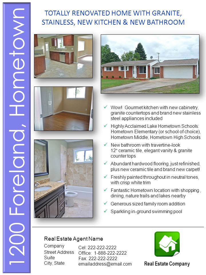 This is a sample of a home brochure including photos (page 1) Wow.
