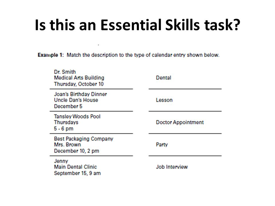 Is this an Essential Skills task