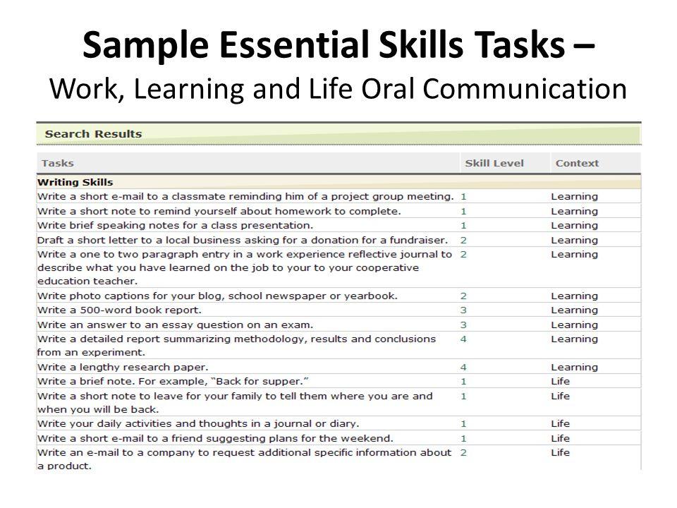 Occupation-Specific Essential Skills Tasks