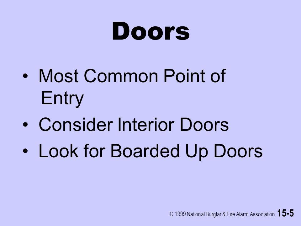 © 1999 National Burglar & Fire Alarm Association 15-5 Doors Most Common Point of Entry Consider Interior Doors Look for Boarded Up Doors