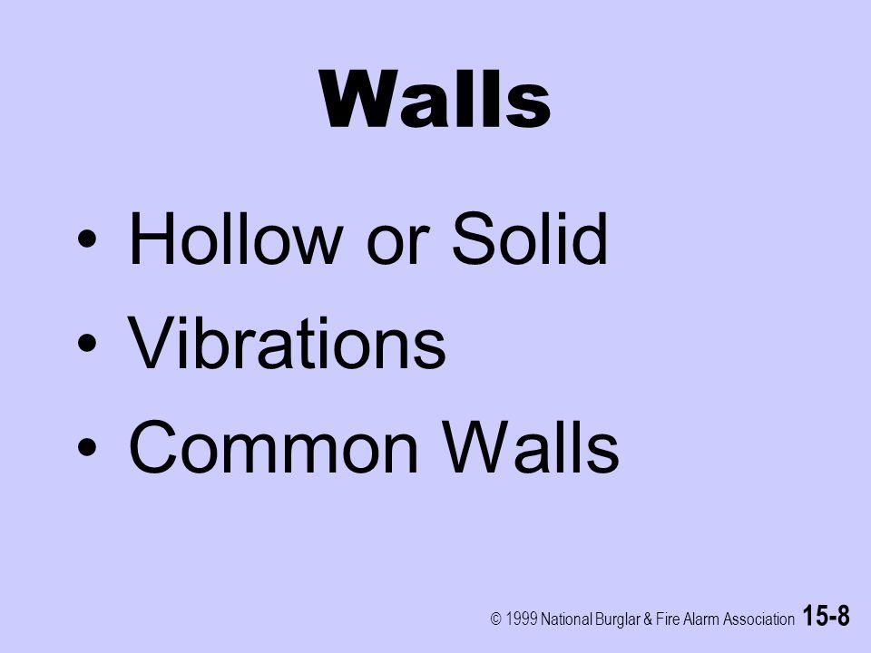 © 1999 National Burglar & Fire Alarm Association 15-8 Walls Hollow or Solid Vibrations Common Walls