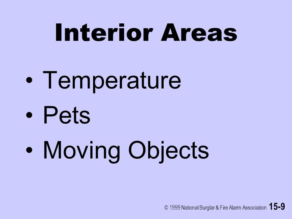 © 1999 National Burglar & Fire Alarm Association 15-9 Interior Areas Temperature Pets Moving Objects