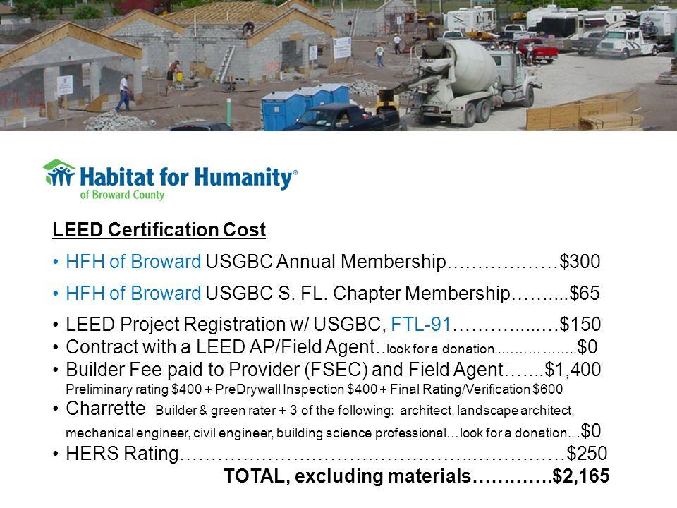 LEED Certification Cost HFH of Broward USGBC Annual Membership………………$300 HFH of Broward USGBC S.