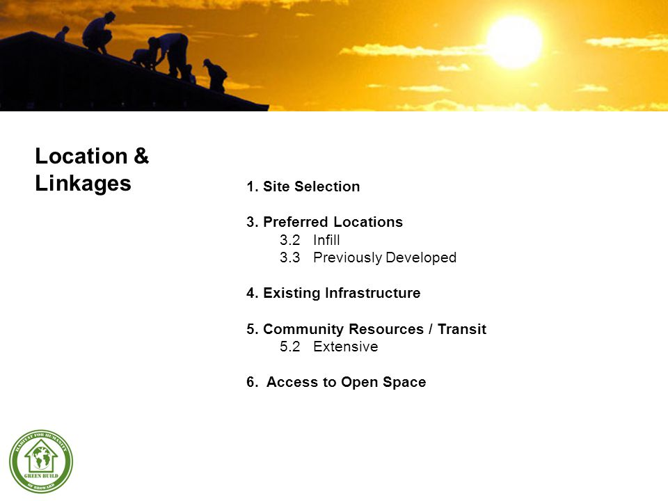1.Site Selection 3. Preferred Locations 3.2Infill 3.3Previously Developed 4.