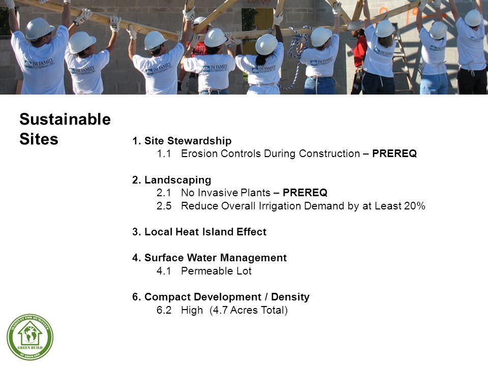 1.Site Stewardship 1.1Erosion Controls During Construction – PREREQ 2.