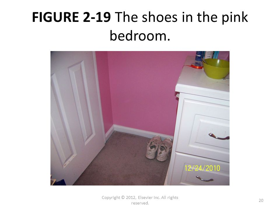 FIGURE 2-19 The shoes in the pink bedroom. Copyright © 2012, Elsevier Inc. All rights reserved. 20