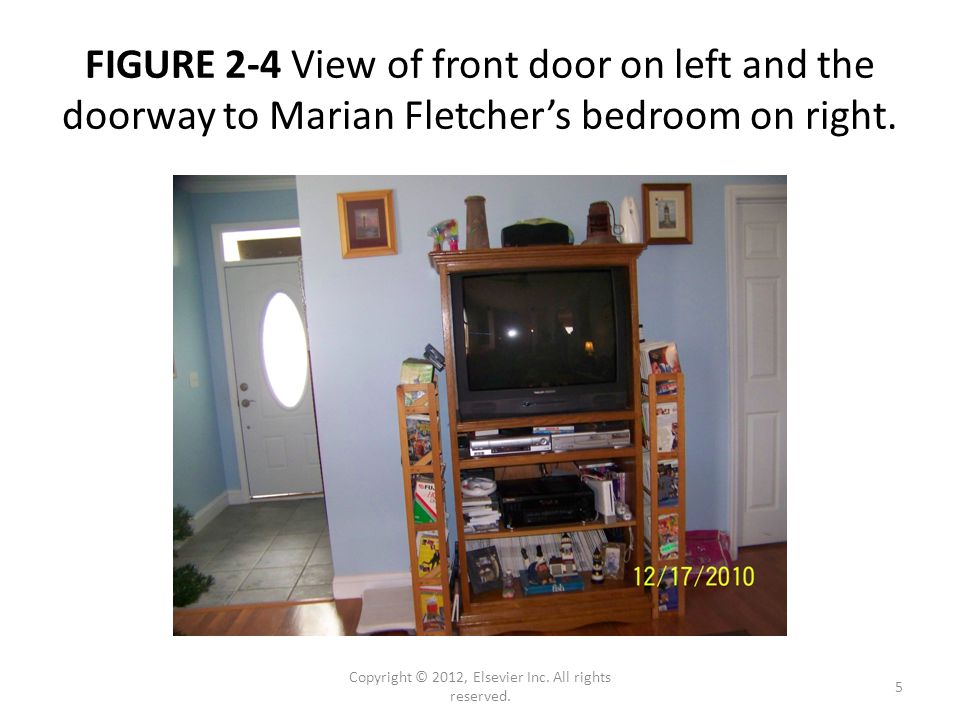 FIGURE 2-4 View of front door on left and the doorway to Marian Fletcher's bedroom on right.