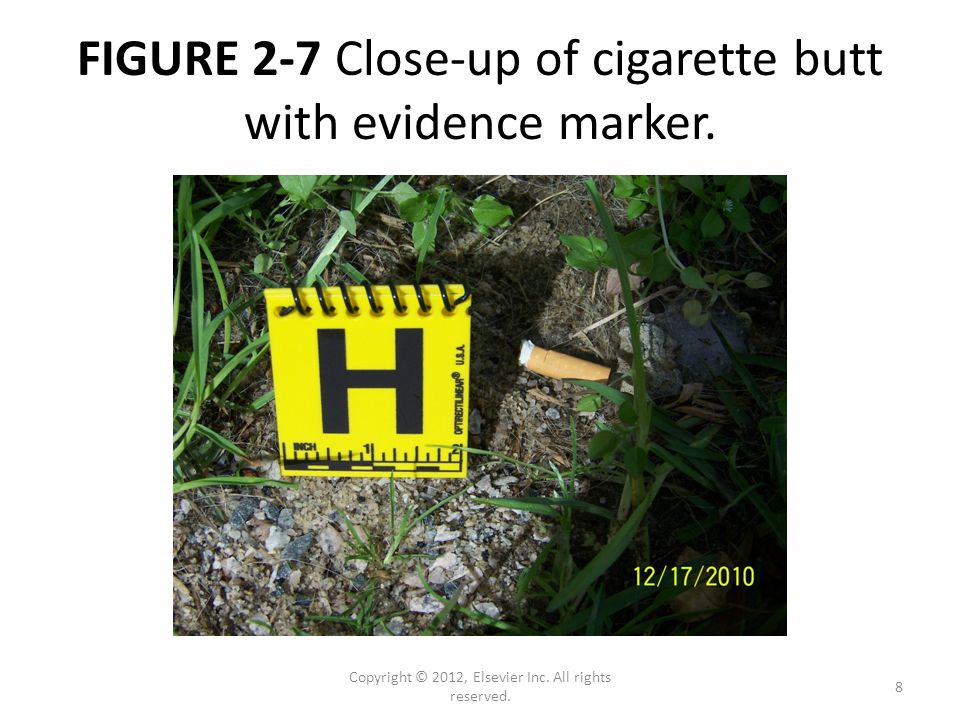 FIGURE 2-7 Close-up of cigarette butt with evidence marker.