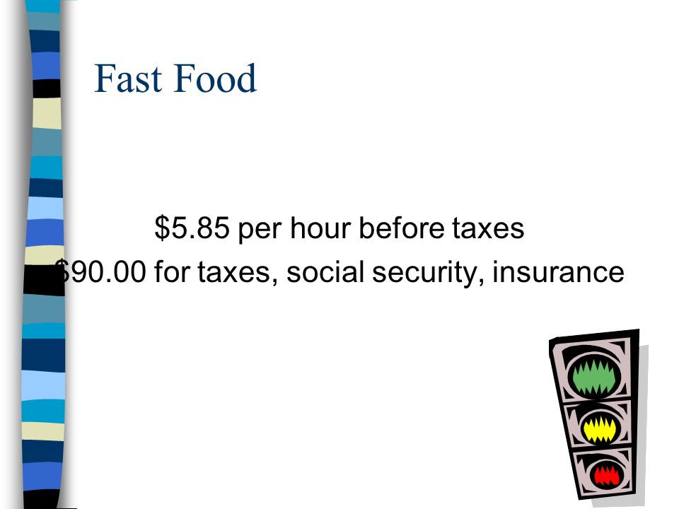 Waiter/Waitress $5.85 per hour before taxes $90.00 for taxes, social security, insurance