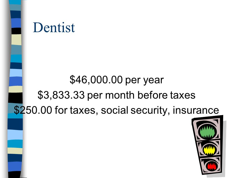 Physician $66,000.00 per year $5,500.00 per month before taxes $340.00 for taxes, social security, insurance